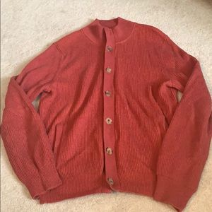 Brooks Brothers red cashmere blend cardigan